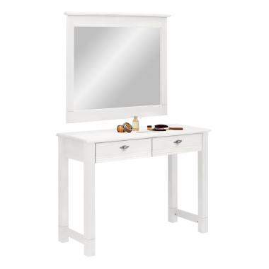 """Стол туалетный """"Рауна"""" с зеркалом (белый воск УКВ)"""